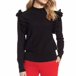 [Plus] NWOT Halogen Black Ruffle Sleeve | XXL